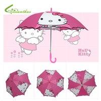 Karikatür Hello Kitty Baskılı Uzun Sap Şemsiye Katlanabilir Çocuk Çocuk Kız Erkek Karikatür Yarı-Otomatik Şemsiye Brithday Hediye