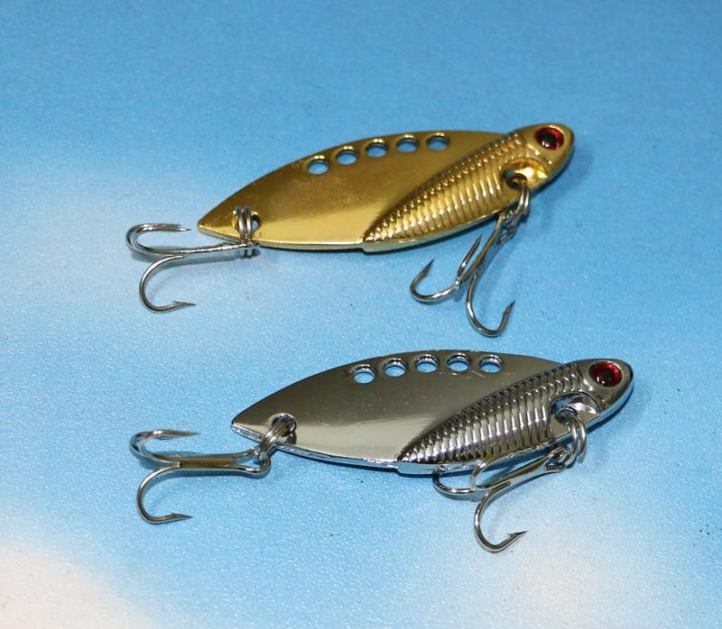 2pcs metal vib lures 5cm 10g vibration spoon lure fishing for Spoon fishing for bass