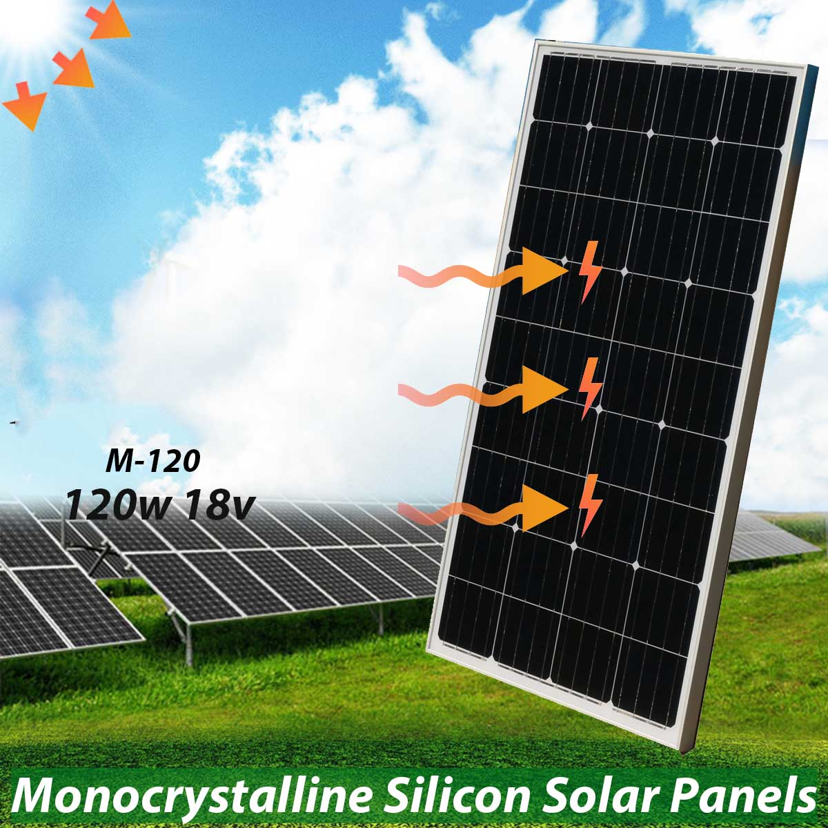 KINCO 120w 18v Monocrystalline Silicon Solar Panel With Glass Bearing Plate High Conversion Rate For Solar System Supply