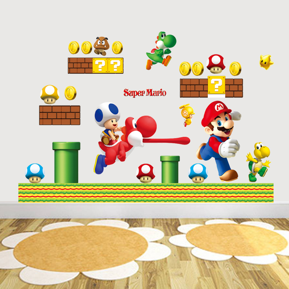 Aliexpress Buy New Pvc Super Mario Bros Wall Sticker Home Decor For Kids Room Baby Aliexpress
