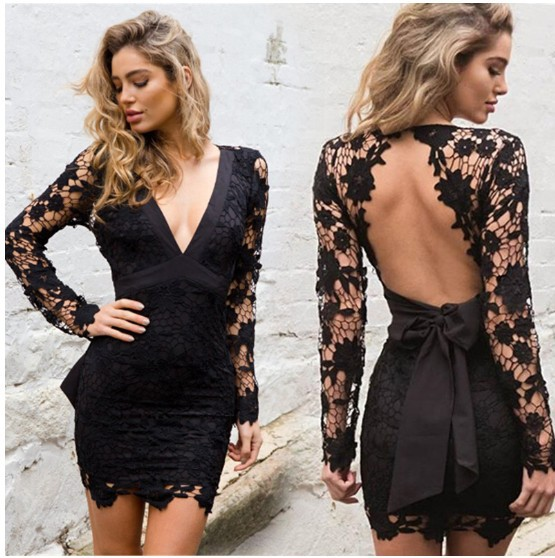 2019 Sexy Mini Dress Women deep v neck Elegant backless lace up Party Dresses hollow out Sundress Vestidos dropshipping in Dresses from Women 39 s Clothing
