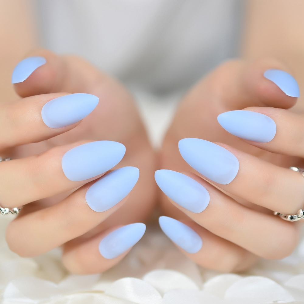 Candy Sky Blue Soft Matte Nail Art Kit 24pcs Sharp Medium Women Stiletto Acrylic Nails Diy Salon