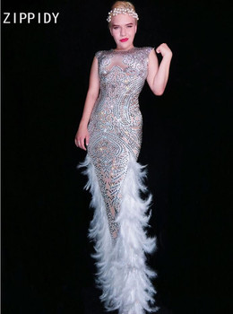 Full Silver Rhinestones White Feather Long Dress Birthday Celebrate Dance Prom Outfit Female Singer Evening Stage Dress