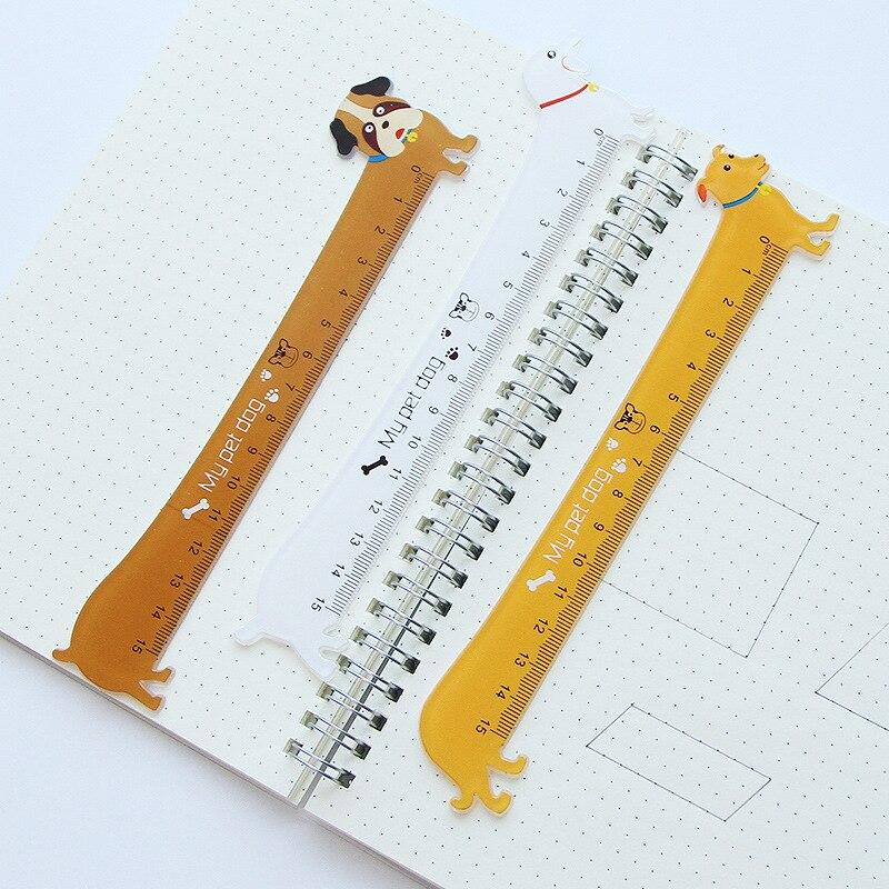 Free Ship!1lot=30pc!Cute Animal Dog Small Ruler /15cm Scale / Student Cartoon  Wood Ruler/creative Stationery