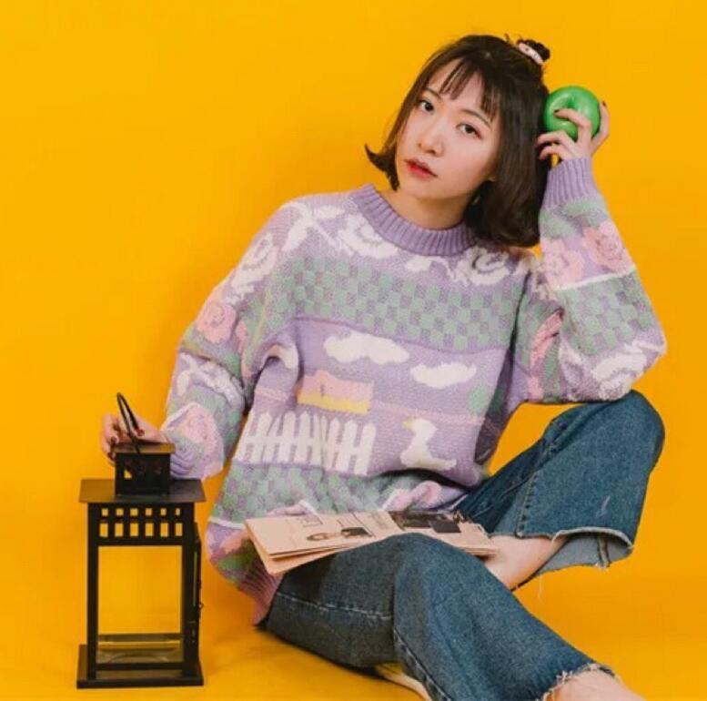 Cloud rose head knit sweater