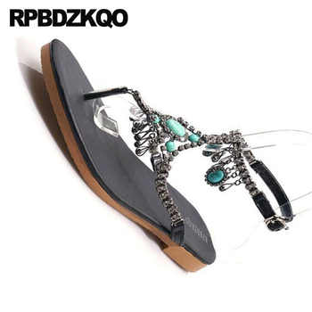 Diamond Thong Rhinestone Gladiator Sandals Bohemia Women Nice Flat Shoes T Strap Silver Bridal Black Crystal Elegant Jewel Bling