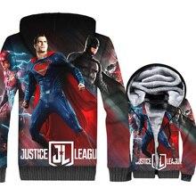 Justice League Men Clothing 2018 Funny Winter Zipper Mens Jacket 3D Superhero Streetwear Thick Sweatshirt Hip Hop Coat Male Top