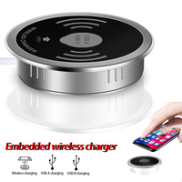 Built in desktop wireless fast charger 10W 7.5W or 5W USB A Type C 15W fast charger 3.0 embedded Qi Caricabatter Wireles charger|Mobile Phone Chargers|Cellphones & Telecommunications -
