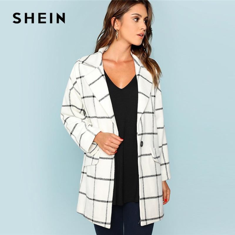Шеин белый одной кнопки водопад сетки пальто элегантный повседневное с длинным рукавом клетчатая верхняя одежда для женщин осен
