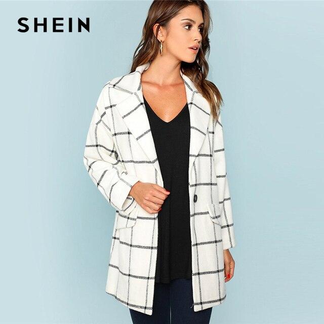 ffaaa8475e SHEIN White Single Button Waterfall Grid Coat Elegant Casual Long Sleeve  Plaid Outerwear Women Autumn Minimalist