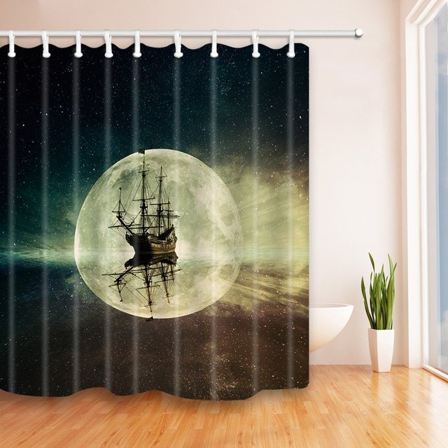 Old Pirate Ship In The Sea Historic Surround The Earth Mildew Resistant  Polyester Fabric Shower Curtain
