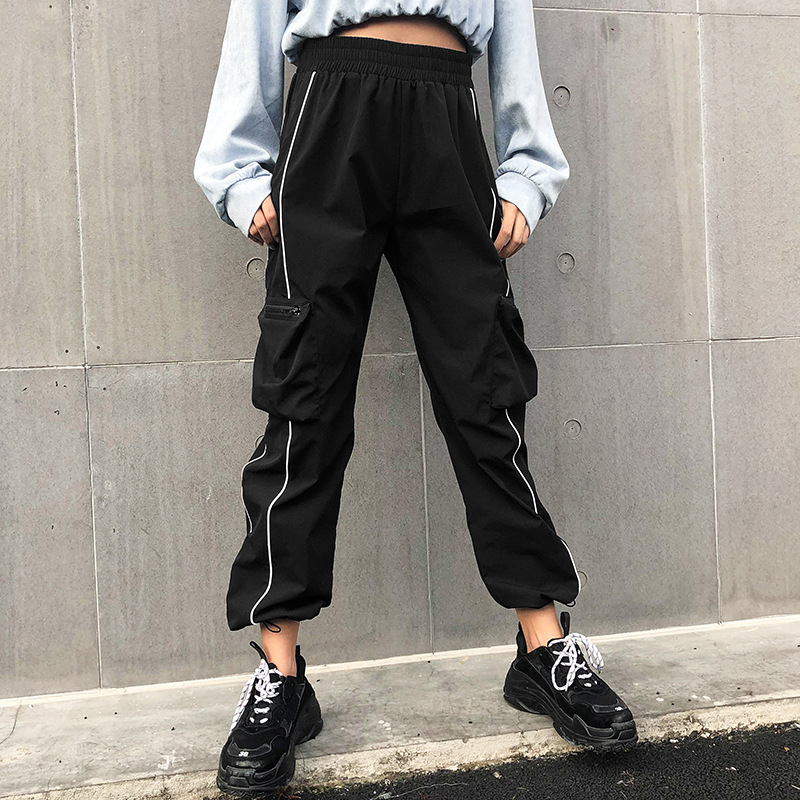 Girls' Harajuku Casual Black   Pants     Capris   Elastic High Waist Ladies Trousers Streetwear Cargo   Pants   Women Big Pockets   Pants
