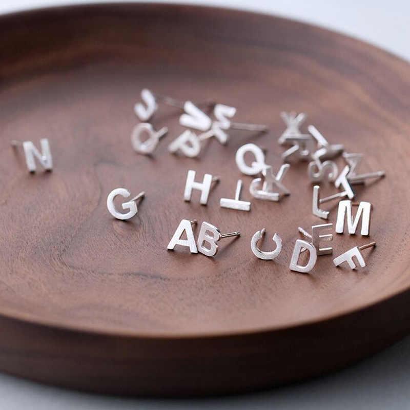 ANENJERY joyería DIY 1 par diminuto Plata de Ley 925 letra inicial pendiente del perno prisionero para las mujeres nombre pendientes S-E845