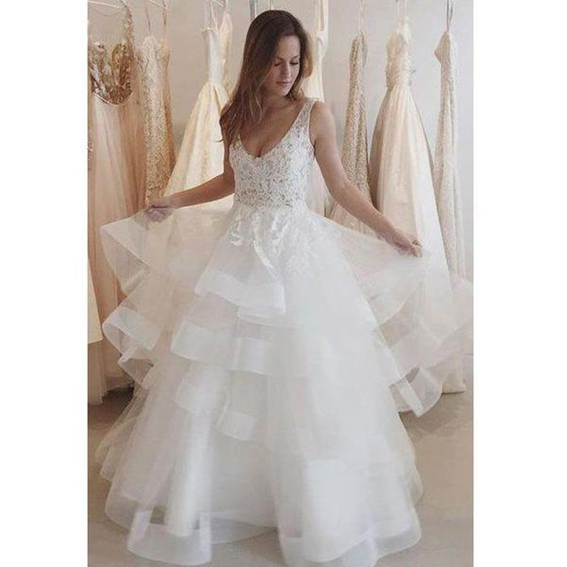 E JUE SHUNG White Lace Appliques Tiered Backless Wedding Dresses Open Back Bride Dresses Wedding Gowns Robe De Mariee