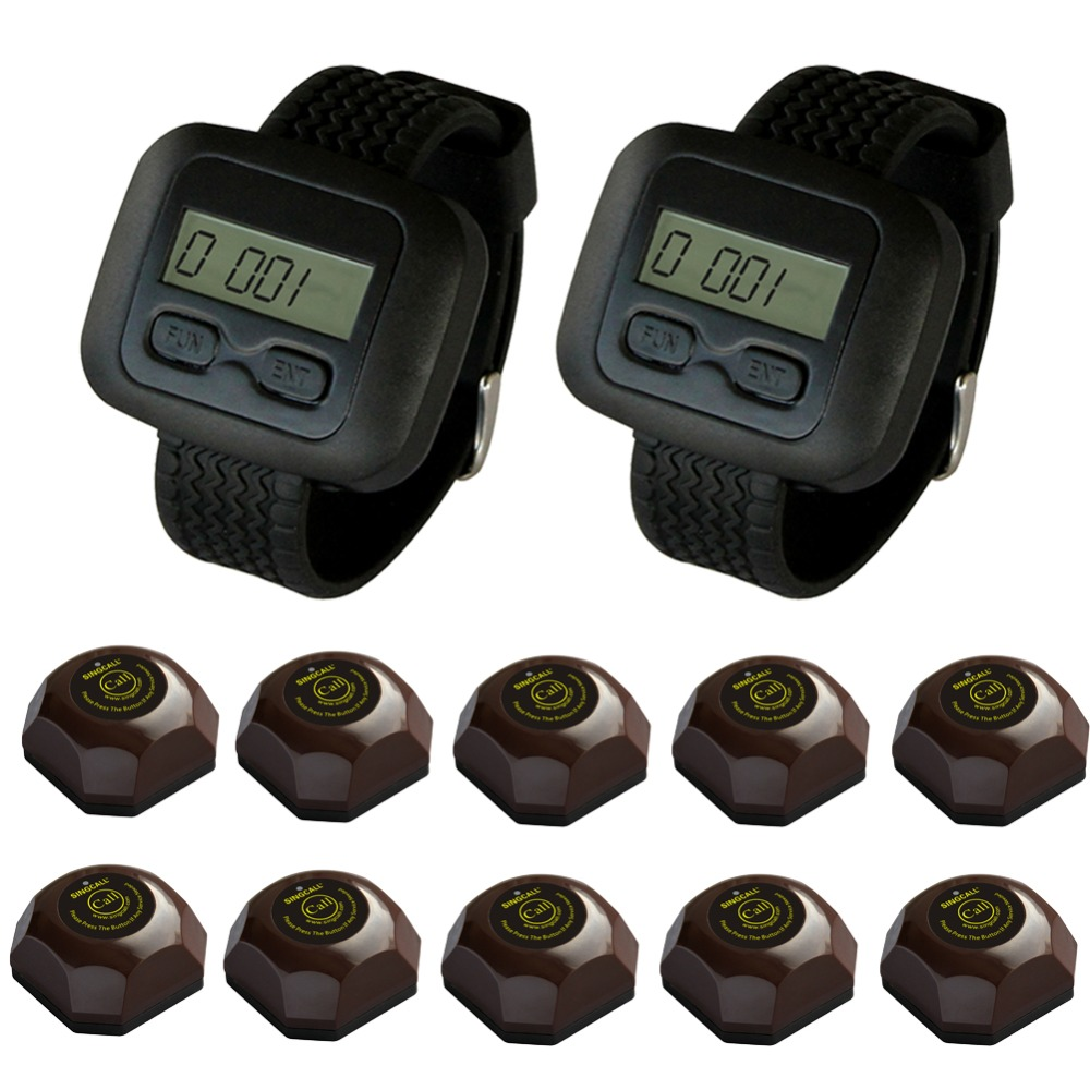 SINGCALL Wireless Waiter Service Calling System for Restaurant Coffee Shop Hotel 2 Watch Receivers and 10 Bells,staff pager 200m wireless restaurant calling waiter system pager for hotel 1 watch 5 buttons