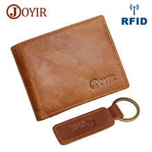 JOYIR Hot Vintage Slim Mini RFID Wallet Genuine Cow Leather Credit Card Holder Purses Travel Short Male For Men