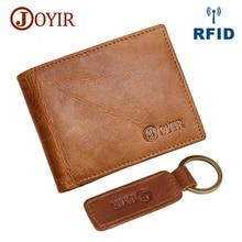 JOYIR Hot Vintage Slim Mini RFID Wallet Genuine Cow Leather