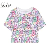 2018 Women T Shirt Colorful Bears Crop   Top   Cartoon Loose Summer T-Shirt Cotton Kawaii Tshirt Summer Short   Tee   Letter Pony   Tops