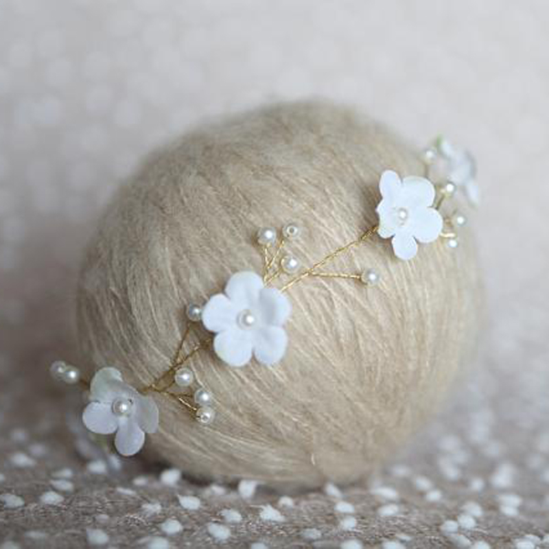 Ručně vyrobená baby květina čelenka, novorozenec čelenka, perla korunu, holka, dítě, čelenka, baby headbands křest, vlasy luky1634