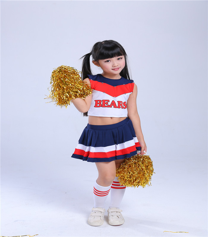 (2pcs Pom Poms Free Gift)Children Cheerleading Performance Girl Aerobics Competition Cheerleader School Cheer Team Uniforms Kids
