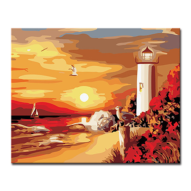 Framework DIY Oil Painting By Numbers Kits Coloring Abstract Wall ...