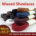 Weiou hot 8mm Flat Waxed Shoelaces Cotton Shoe Laces 8mm wide Unisex Strings Cord for Leather Shoe Boot 90cm/35.5""
