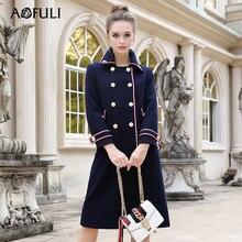 a64d485481d AOFULI L-4xl 5xl Большие размеры Для женщин зимнее шерстяное пальто 2017  женские офисные Англия Стиль дважды Breased длинные пал.
