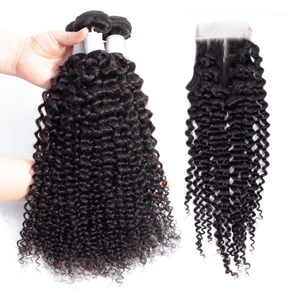 Clover Leaf Kinky Curly Remy Hair 3 Bundles With Lace Closure 4X4 100% Brazilian Human Hair Natural Black 8-28in Hair Extensions