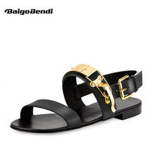 US-6-12 Men Genuine Leather Metal Punk Beach Flat Thongs Roman Gladiator Summer Sandals Casual Outdoor Shoes