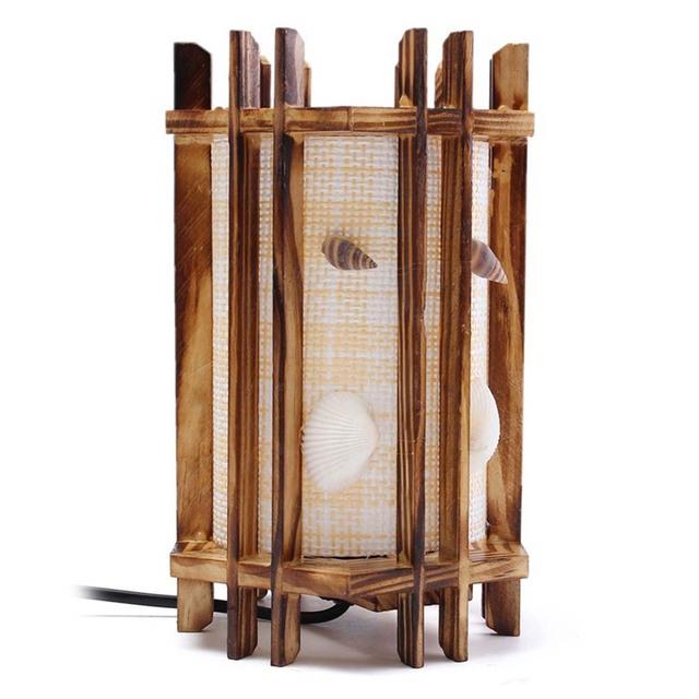 Luz da Mesa De Madeira Retro Natical Temático Seashell Artesanato Candeeiro de Mesa com Plug UE-Tamanho L