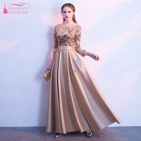 Golden Bridesmaid Dresses Long Dress For Wedding Party For Woman Navy Blue Burgundy Sequin Satin Dress Bridesmaid JQ24