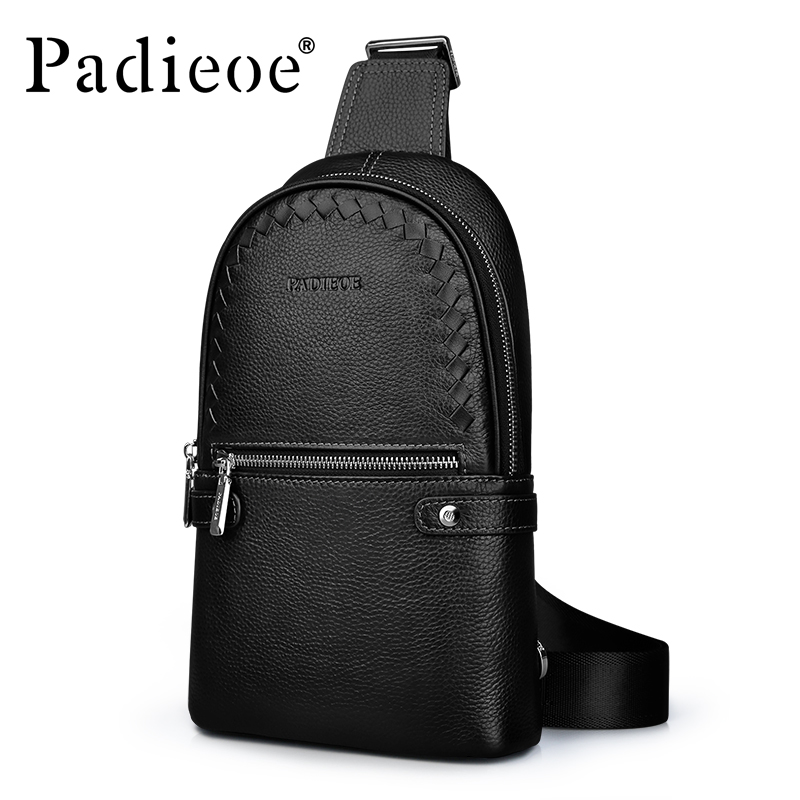 Padieoe Luxury Fashion Men Bag Brand Genuine Leather Chest Pack Male Shoulder Crossbody Messenger Bags bull captain2017 fashion genuine leather crossbody bags men small brand music messenger bags male shoulder bag chest bag for men