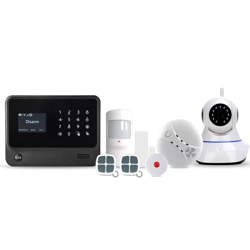 433MHz GSM wifi burglar alarm system home security wireless alarm system APP control IP cameras / smoke detector sensor kerui wireless wired gsm voice burglar home house security alarm app control tft touch panel wireless smoke detector pir sensor