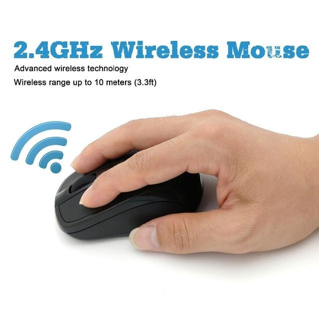 Mouse Wireless USB 2000DPI ricevitore regolabile Mouse ottico per Computer Mouse ergonomico da 2.4GHz per mouse per PC portatile 6
