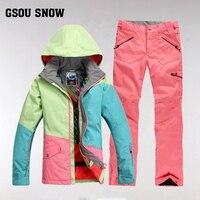 GsousnowPlus размер женский лыжный костюм непромокаемая походная Куртка сноубордическая куртка лыжный костюм женский большой размер зимние кур