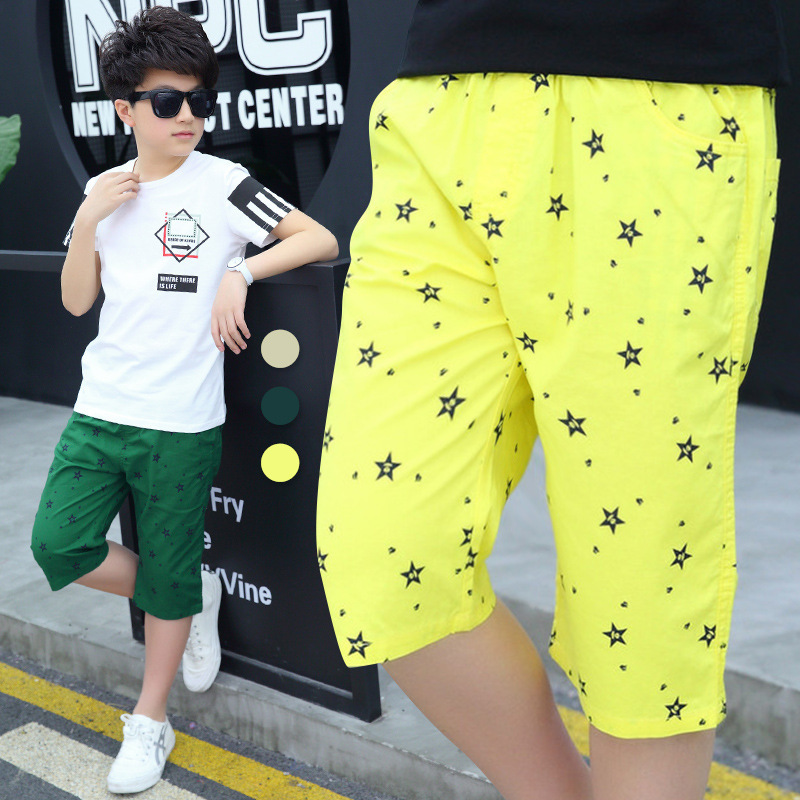 Boys Pants Summer Chino Cotton Pants Fitted with Adjustable Waist Calf Length Casual Trousers Kids clothing Leggings 4-10 Years