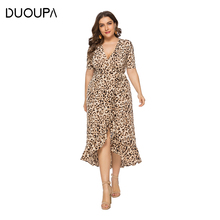 DUOUPA Summer Womens Loose Ladies V-neck Ruffled Irregular Leopard Dress Sexy Long Beach Bohemian