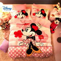 Pink Polka dot flannel fleece Minnie Mouse comforter bedding set twin size girls quilt cover 3d full bed linen soft coverlet Kid