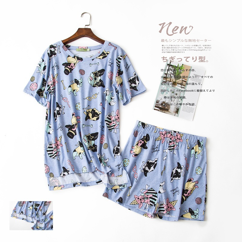 Summer 2019 Pajamas Women Cute French Bulldog Print 2 Pieces Set Short Sleeve Elastic Waist Cotton Sleep Wear Lounge S84693