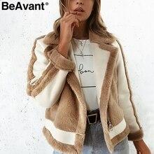 BeAvant Warm khaki fur winter woman coat 2018 Zipper pocket faux fur jacket coat women casual patchwork suede outerwear autumn