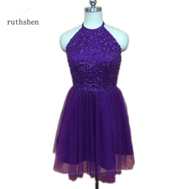 005646718b8 ruthshen Dark Purple Short Homecoming Dresses 2018 Halter Beaded Pleats  Tulle Mini Cocktail Party Gowns Sexy Club Dress