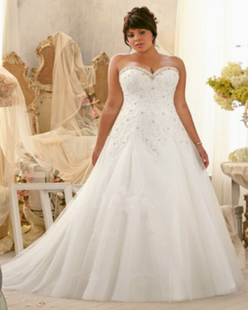 2017 Lace Up Wedding Dresses Modest Applique A Line Sweetheart Tulle Sleeveless Sash Court Train Bridal Gowns Plus Size