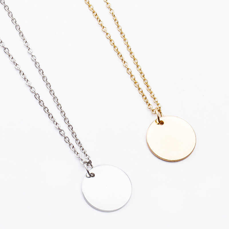 New Simple Tree of Life Pendant Wafer Necklace Gold Silver Color Metal Clavicle Chain Neckless Choker Statement Jewelry Hot N449