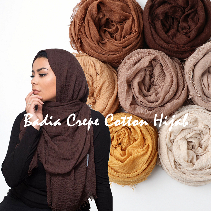 One piece women crinkle solid hijabs scarf oversize islam shawl head wraps soft long muslim frayed wrinkle cotton plain hijab(China)