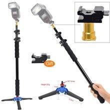 """DEEKARL aleación de aluminio Handheld 1/4 """"Grip 158cm Rig Support Rod Flash Light Speedlite Holder, Base de soporte de monopié w/tornillo de 3/8"""""""