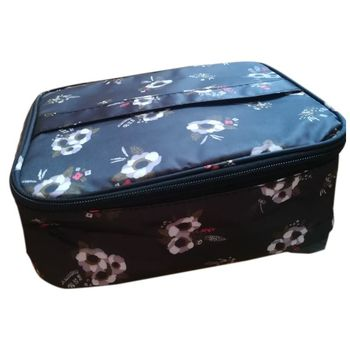 Travel fashion lady cosmetics cosmetic bag beautician storage bags large capacity Women makeup bag(B flower)