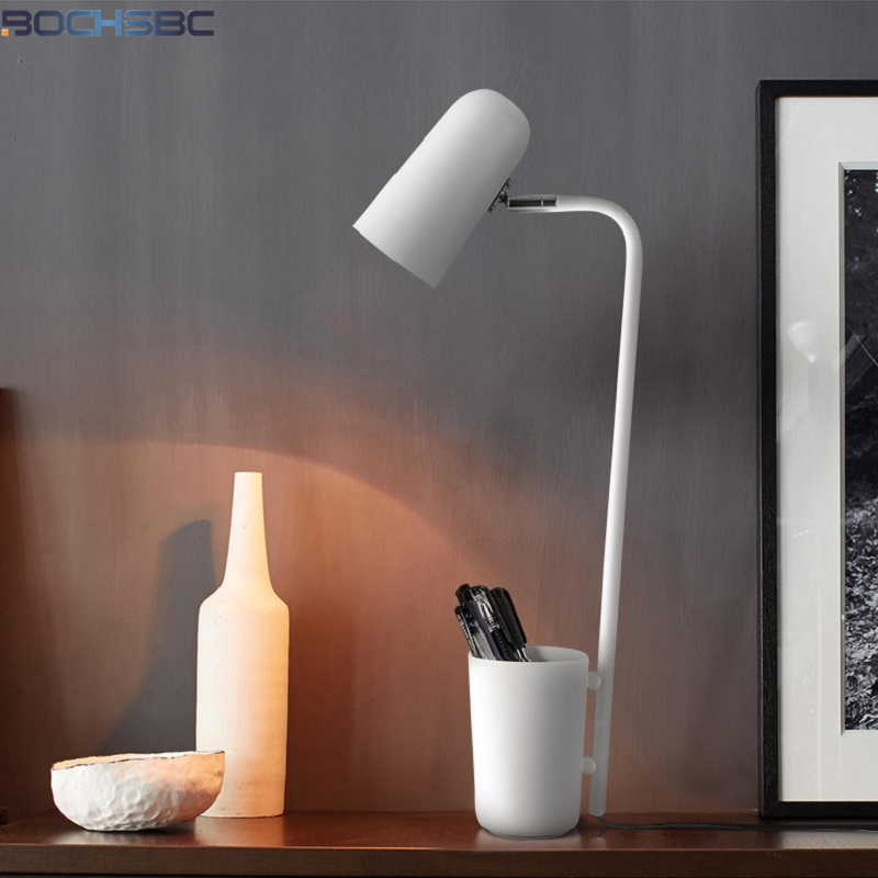 FUMAT fer Moder lampe de bureau pinceau Pot noir blanc lumière ombre Angle réglage lampes de Table LED bref crayon Vase Loft E14 lumières