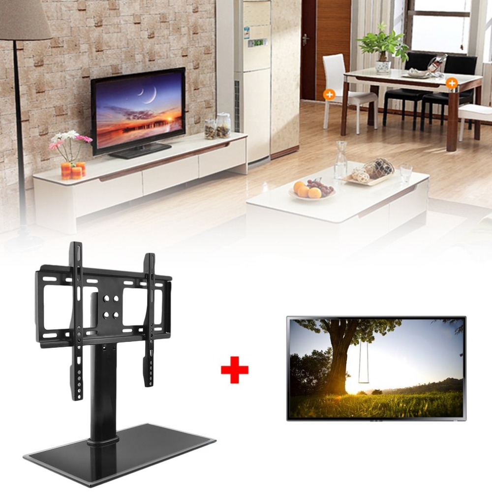 Stand Base Table Top Replacement TV Pedestal Max VESA of 400mm x 400mm fits 26-32 inch For LED LCD Plasma Black Household Tool
