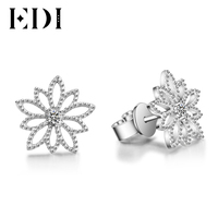 EDI Flower earring with Genuine Natural 0.06cttw Diamond Real 18k White Gold Stud Earrings For Women Wedding Fine Jewelry