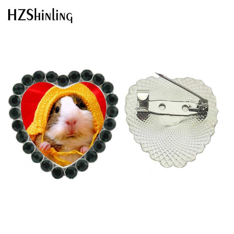 2017 Baru Jantung Kerah Pin Perhiasan Guinea Babi Bros Crystal Indah Mouse Jantung Breastpin Kaca Foto Pin Pakaian Aksesoris